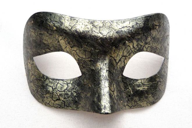 Genuine Venetian Exclusive Black & Gold Crackle Mask